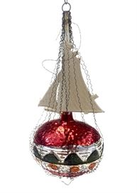 Antique Dresden, red, wire wrapped ship handmade out of  mercury glass ornament. 5.5 inches tall. Estimated value $210. In perfect condition for over 100 years old! The perfect gift for any ornament collector!