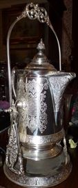 Great silver plated coffee pot on pouring stand
