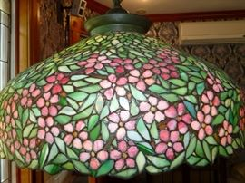 Tiffany stained glass lamp shade with early Tiffany Studios New York tag!