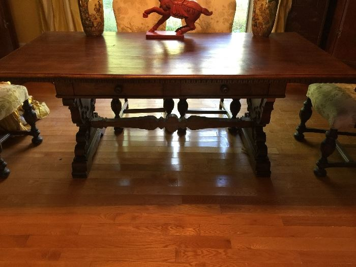"""40 """" wide x 80"""" long Great finish on this trestle table which can also be used as a desk or board room tale !"""