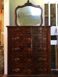 Mother of pearl inlaid dresser with beveled mirror