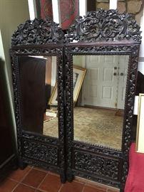 5+foot tall Chinese ZITAN wood mirrors / Pair