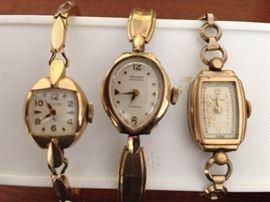 Rolled gold filled vintage ladies wristwatches, Gruen, Elgin