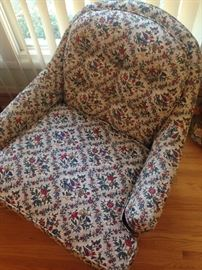 Pair of beautiful occasional chairs that swivel, see next photo for detail of fabric.