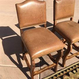 """Set of 6 leather barstools. 39""""h x 17.5""""w x 18.5""""d"""