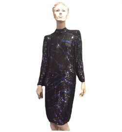 Size: 8 (est.)  Bill Blass black sequin gown with lines of purple/blue.