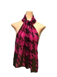 "Size: 56"" x 10""  Dark pink and black scarf."