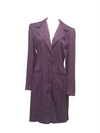 Size: 8  Mary McFadden classic, navy blue, pinstriped coat lined in navy. Buttons down front. 2 front pockets.
