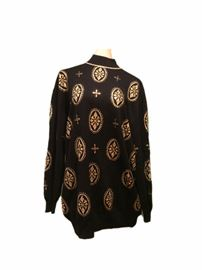 Size: S  St. John long black sweater with metallic gold pattern.
