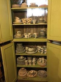 Vintage dishes including Jewel Tea, Noritake, Cattail pattern, Kroger 1960 premium dishes, enamelware,