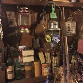 Old tools,  deco window treatment, deco curtain tie backs, old fan, TN license plates