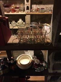 Vintage cattail glasses in metal holder