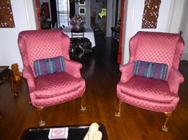 Pair of Burgandy Wing Back Chairs