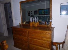 Oak Dresser and Mirror