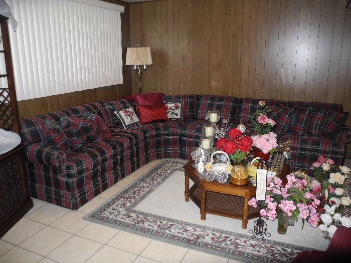 Great family room plaid sectional