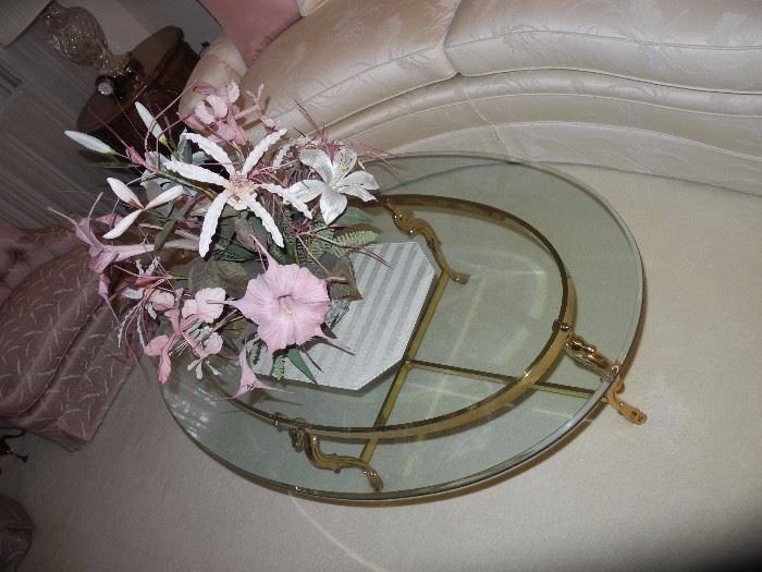 Glass and brass oval table (very heavy) cost $2,000!