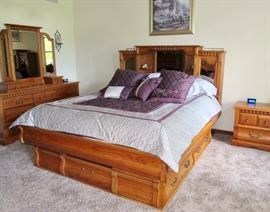 Solid Oak King Size Bed, 2 Night Stands, Mirrored Dresser, Chest of Drawers from Oakwood Interiors, Brea, CA
