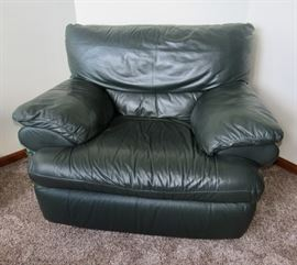 Green Leather Chair (has matching Ottoman)