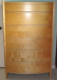 Palliser Furniture Mfg. Canada Mid-Century Style Natural Finish 6-drawer Highboy Chest with White Glass Top.  1 of 2 Shown