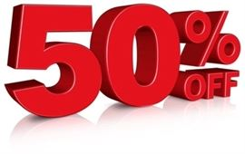 50% OFF TODAY!!!!! Don't miss out on these great buys.  House full!!