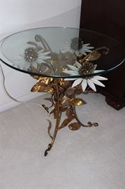 Vintage glass and metal lighted table.