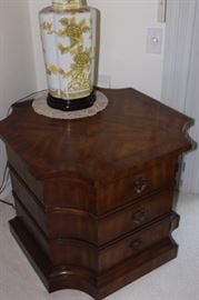 Very nice cabinet end table, Asian table light.
