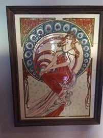 """Art Nouveau """"after Mucha"""" style tile artwork"""
