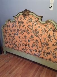 King size headboard (Widdicomb), carved & painted wood frame, upholstered.