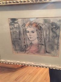Framed lithograph by Edna Hibel.