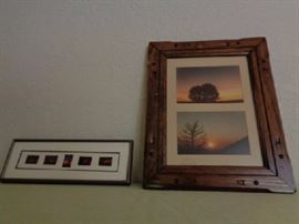 Rustic Wyoming landscape framed photos  One sunrise and sunset picture 10x13 wood framed  One sunset mini pictures 13x4 1/2 metal framed