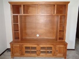 "Beautiful Rustic Style Console Hutch -2 Long shelves behind doors -2 Small cabinets with CD holders built in -10 Storage cubbies (needs cleaning) : 64""W x 17""D x 64""H"