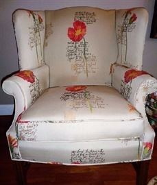 "Cute winged back chair -Small quotes on it along with red and yellow flowers -Has been reupholstered (minor normal wear) : 29""W x 31""D x 40""H"