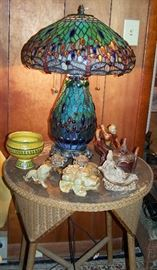 Tiffany Style Lamp Antique Wicker Table