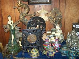 Assortment of Oriental Statues & Vases