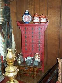 Red Apothecary Cabinet