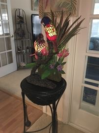 Parrot stained glass lamp