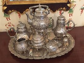 Ornate Antique German Repousse  800 Silver Tea Set & Sterling Silver Tray