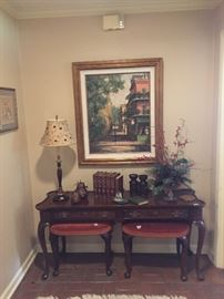 Hekman console table and pair of stools