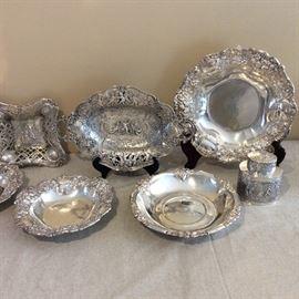 Ornate Antique German Repousse 800 bowls