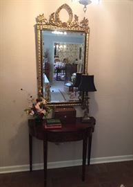 gold leaf and ebony Italian mirror,  Henkel Harris flip top game table