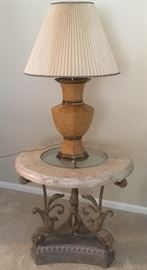 Solid and heavy table and lamp ... times TWO!!!