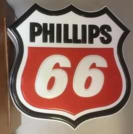 Very nice, large lit Phillips 66 sign.