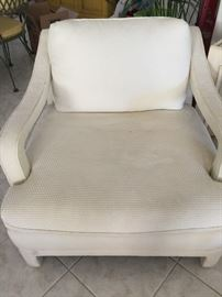 Oversized white fabric chair
