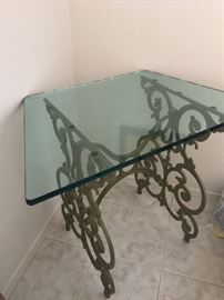 Wrought iron corner stand with glass top
