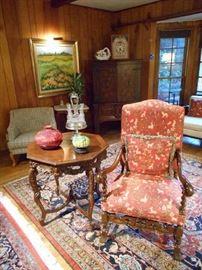 Walnut Library Chair, Mahogany Renaissance Revival Lamp Table
