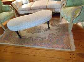 """Kidney shape Hearth Bench, 1 of several small Kirman style Area Rugs approx. 87"""" x 47"""""""