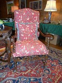 Walnut Tudor Revival Hall/Library Chair