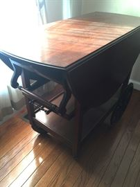 antique serving cart with drop leaves