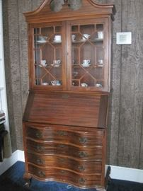 mahogany secretary desk & china tea cups