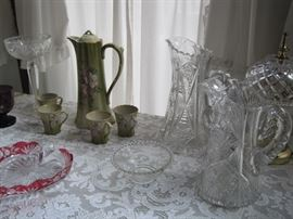 cut glass & china chocolate pot